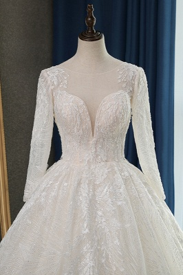 Long Sleeves Jewel Appliques Ball Gown Wedding Dresses_5