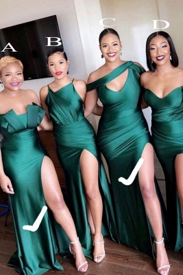 Long Strapless Emerald Green Bridesmaid Dresses Off-the-shoulder Dress_5