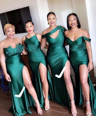 Long Strapless Emerald Green Bridesmaid Dresses Off-the-shoulder Dress_6