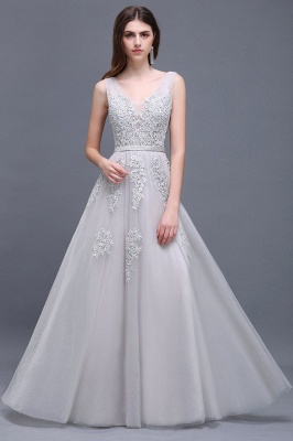 ADDYSON | A-line Floor-length Lace Tulle Wedding Dress with Appliques_9