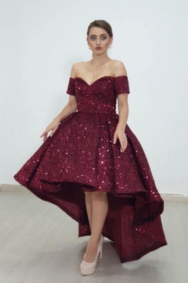 Cheap Shining Short Sequin Prom Dresses Burgundy with Train