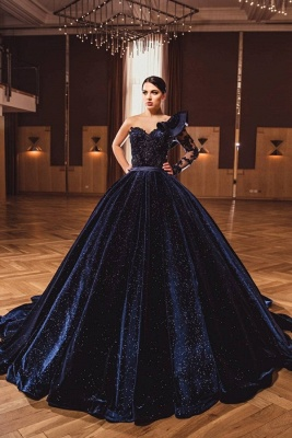 Gorgeous A Line Dark Purple Ball Gowns One Shoulder Prom Dresses