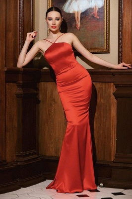 Cheap mermaid Long Sexy Red Evening Gowns Open Back