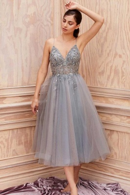Cheap Lace Grey Prom Dresses Short Sleeveless V Neck Gowns