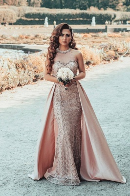 Gorgeous Floor Length Mermiad Pink Lace Jewel Prom Dresses