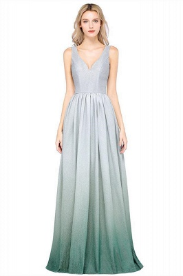 A-line Ruffles V-Neck Long Evening Dress On Sale_1