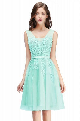 ADDILYNN | A-line Knee-length Tulle Prom Dress with Appliques_9