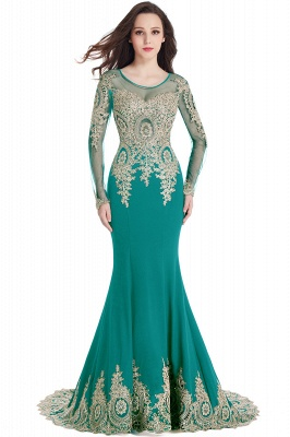 Crystal | Sexy Mermaid Lace Appliques Long Sleeves Prom Dresses with Beadings_10