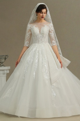 Luxury Floral Lace Bridal Gown Crew Neck Long Sleeves Aline Spring Garden Ball Gown_2