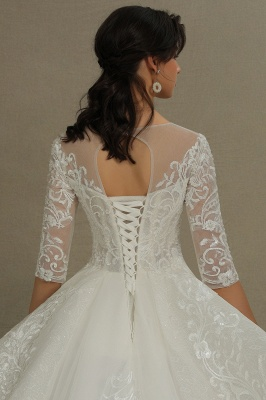 Luxury Floral Lace Bridal Gown Crew Neck Long Sleeves Aline Spring Garden Ball Gown_7
