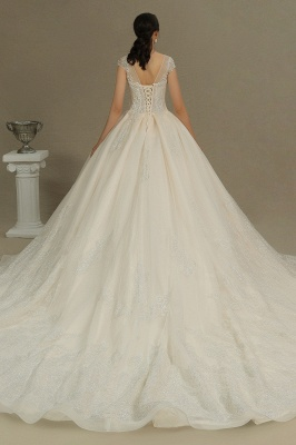 Cap Sleeve Aline Cathedral wedding dress Tulle Lace Appliques Garden Bridal Gown_7