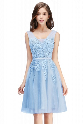 ADDILYNN | A-line Knee-length Tulle Prom Dress with Appliques_17