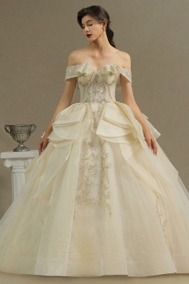 Gorgeous Off-the-Shoulder Floral Appliques Ball Gown Ivory aline Bridal Gown_2