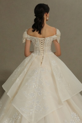 Elegant Off-the-Shoulder Tulle Lace Ball Gown Floor Length Graden Bridal Gown_8