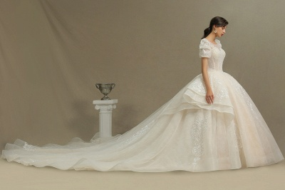 Charming Short Sleeve Garden Bridal Gown Sweetheart Wedding Dress Sweep Train_4