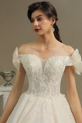 Elegant Off-the-Shoulder Tulle Lace Ball Gown Floor Length Graden Bridal Gown_7