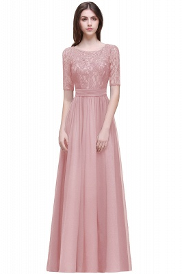 AUBRIELLE | A-line Scoop Chiffon Elegant Prom Dress With Lace_3