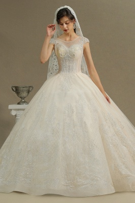 Cap Sleeve Aline Cathedral wedding dress Tulle Lace Appliques Garden Bridal Gown_5