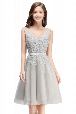 ADDILYNN | A-line Knee-length Tulle Prom Dress with Appliques_15