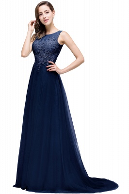 ABRIL | A-line Court Train Tulle Evening Dress with Appliques_6