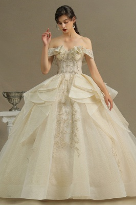 Gorgeous Off-the-Shoulder Floral Appliques Ball Gown Ivory aline Bridal Gown