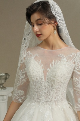 Luxury Floral Lace Bridal Gown Crew Neck Long Sleeves Aline Spring Garden Ball Gown_8