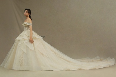 Gorgeous Off-the-Shoulder Floral Appliques Ball Gown Ivory aline Bridal Gown_4