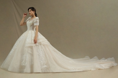 Charming Short Sleeve Garden Bridal Gown Sweetheart Wedding Dress Sweep Train_3