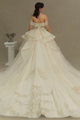 Gorgeous Off-the-Shoulder Floral Appliques Ball Gown Ivory aline Bridal Gown_6