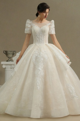 Charming Short Sleeve Garden Bridal Gown Sweetheart Wedding Dress Sweep Train_2