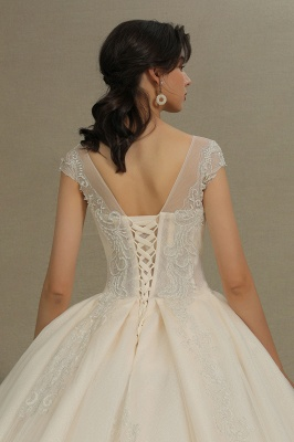 Cap Sleeve Aline Cathedral wedding dress Tulle Lace Appliques Garden Bridal Gown_8