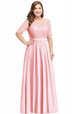 AUBRIELLE | A-line Scoop Chiffon Elegant Prom Dress With Lace_2