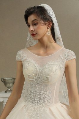 Cap Sleeve Aline Cathedral wedding dress Tulle Lace Appliques Garden Bridal Gown_3