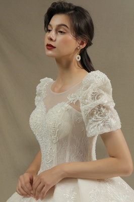 Charming Short Sleeve Garden Bridal Gown Sweetheart Wedding Dress Sweep Train_6