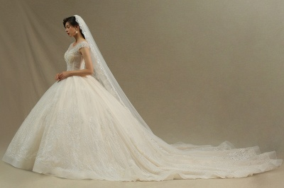 Cap Sleeve Aline Cathedral wedding dress Tulle Lace Appliques Garden Bridal Gown_2