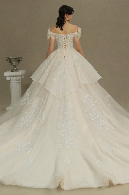 Elegant Off-the-Shoulder Tulle Lace Ball Gown Floor Length Graden Bridal Gown_6