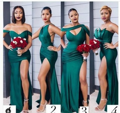 Long Strapless Emerald Green Bridesmaid Dresses Off-the-shoulder Dress_2