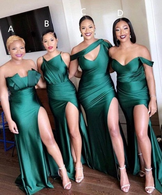 Long Strapless Emerald Green Bridesmaid Dresses Off-the-shoulder Dress_1