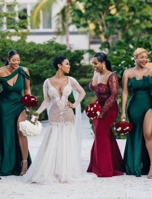 Long Strapless Emerald Green Bridesmaid Dresses Off-the-shoulder Dress_4
