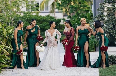 Long Strapless Emerald Green Bridesmaid Dresses Off-the-shoulder Dress_3