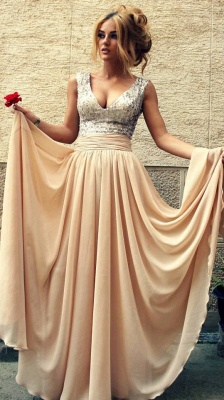 AISLINN | A-line V-neck Chiffon Party Dress With  Sequined_8