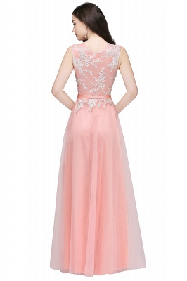 CARLY   A-line Jewel Neck Long Tulle Pink Prom Dresses with Sash_5