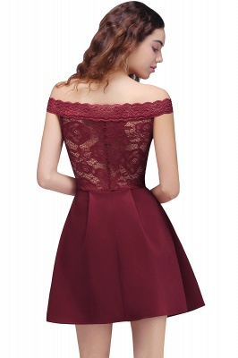 BROOKLYN | A-Line Off-the-shoulder Short Lace Burgundy Homecoming Dresses_3