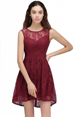 BRIELLE | A-Line Round Neck Short Lace Burgundy Homecoming Dresses_1