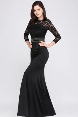 ARIANNA | Sheath High Neck Black Elegant Evening Dresses with Lace_9