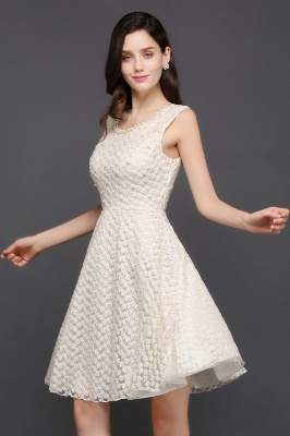 Princess Scoop neck Knee-length Lace Sexy Prom Dress_4