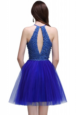 CAITLYN | A-line Halter Neck Short Tulle Royal Blue Homecoming Dresses with Beading_3