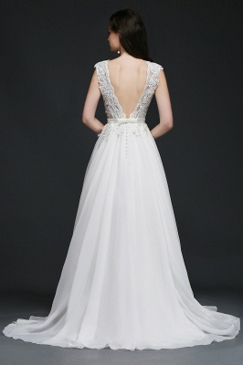 A-line Scoop Modest Wedding Dress With Lace Appliques_4