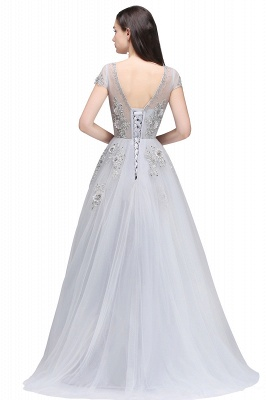 A-line Crew Short Sleeves Floor-length Appliques Tulle Prom Dresses_6