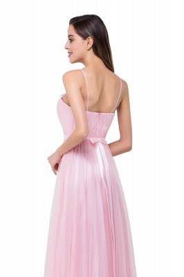 ELLIS | A-line Sweetheart Floor-length Pink Tulle Ruffles Bridesmaid Dresses_7